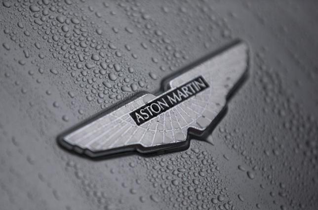 The badge of an Aston Martin DB10 is displayed at a UK Trade and Investment event in London, Britain