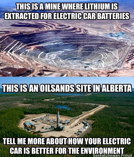 Нефтяная вышка в Альберто. Скажите мне почему же электромобили лучше для окружающей среды.