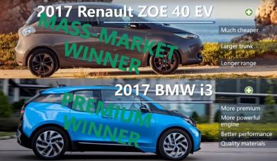 Электромобиль Рено Зое 2017 и БМВ i3 2017